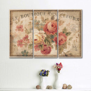 Parisian Flowers III Multi Panel Canvas Wall Art - Shabby_chic