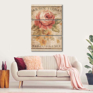 Parisian Flowers II Multi Panel Canvas Wall Art - Shabby_chic