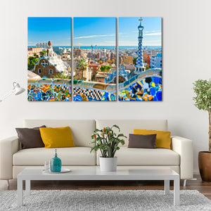 Park Guell Multi Panel Canvas Wall Art - City
