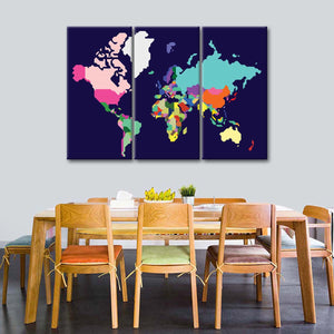 Pastel Symetrical World Map Multi Panel Canvas Wall Art - World_map