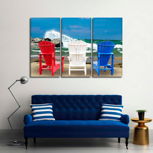 Patriotic Beach Chairs Multi Panel Canvas Wall Art - Beach