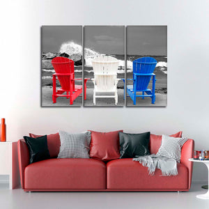 Patriotic Beach Chairs Pop Multi Panel Canvas Wall Art - Beach