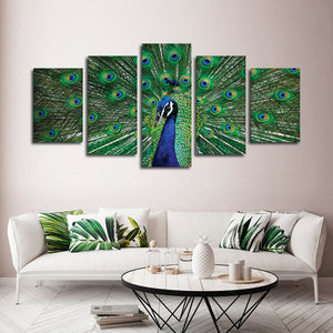 Peacock Feathers Multi Panel Canvas Wall Art - Animals