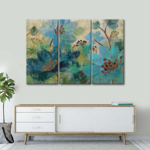Peacock Garden Multi Panel Canvas Wall Art - Flower