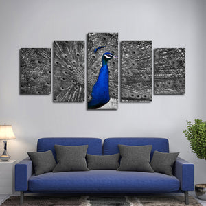 Peacock Pop Multi Panel Canvas Wall Art - Animals