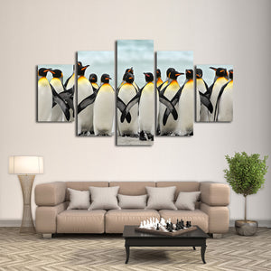 Penguins Multi Panel Canvas Wall Art - Animals