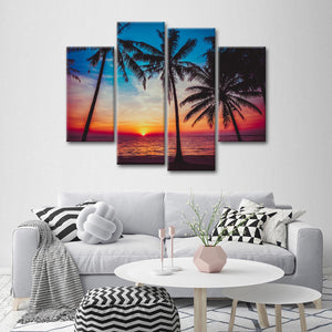 Perfect Sea Sunset Multi Panel Canvas Wall Art - Beach