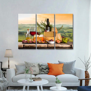 Perfect Wine Pairing Multi Panel Canvas Wall Art - Winery