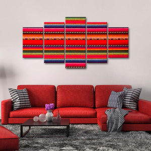 Peruvian Wool Pattern Multi Panel Canvas Wall Art - Fabric