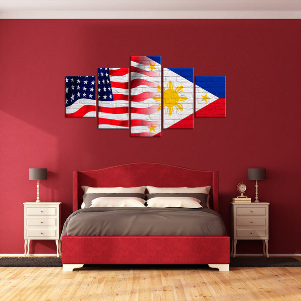 Philippines And USA Flag Multi Panel Canvas Wall Art