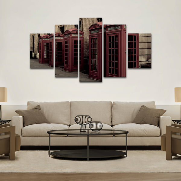Phone Booth Multi Panel Canvas Wall Art