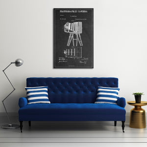 Photographic Camera Patent BW Canvas Wall Art - Patent