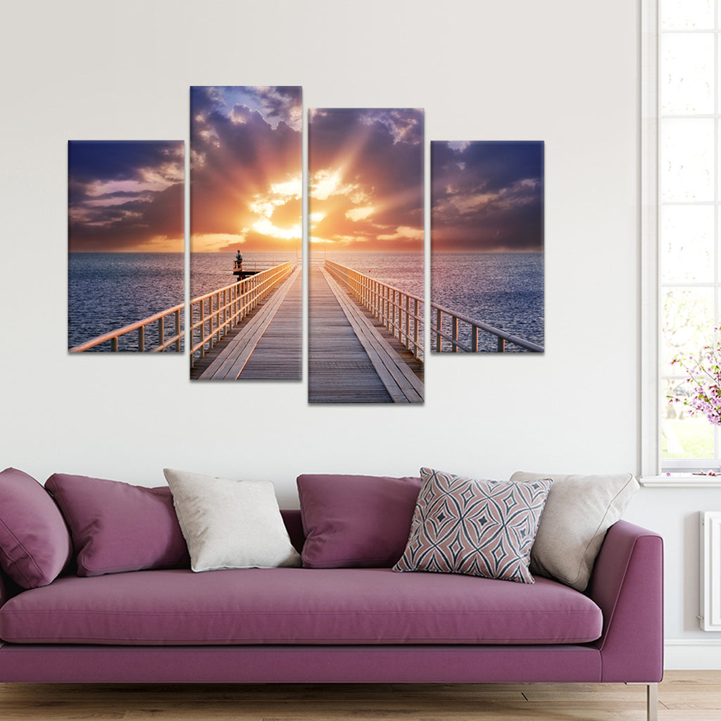 pier at sunset multi panel canvas wall art elephantstock. Black Bedroom Furniture Sets. Home Design Ideas