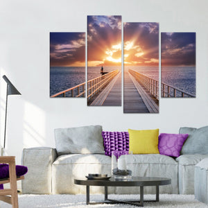 Pier at Sunset Multi Panel Canvas Wall Art - Beach