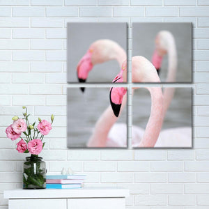 Pink Flamingos Multi Panel Canvas Wall Art - Animals