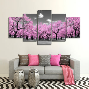 Pink Forest Pop Multi Panel Canvas Wall Art - Nature