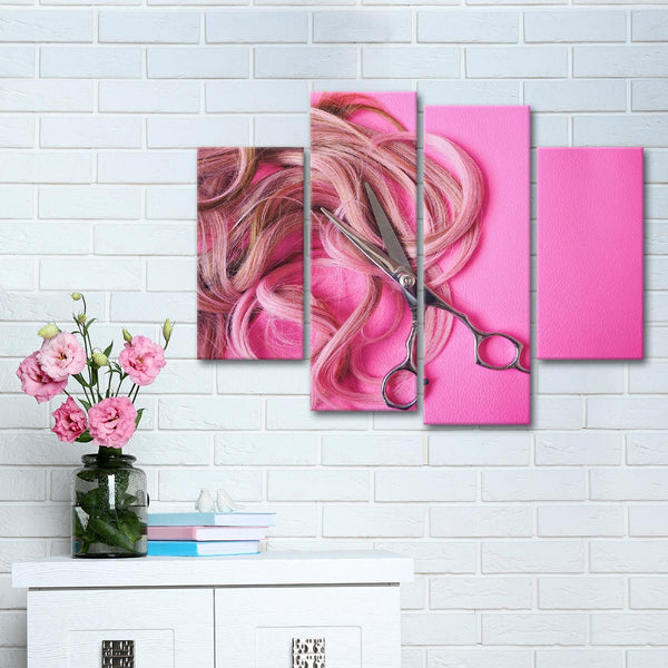 Pink Hairstyle Multi Panel Canvas Wall Art
