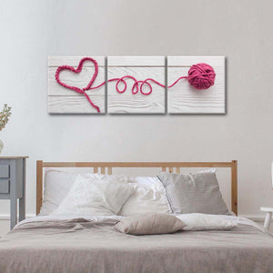 Pink Heart Multi Panel Canvas Wall Art - Fabric