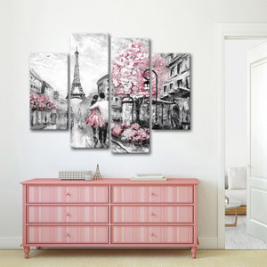 Pink Paris Pop Multi Panel Canvas Wall Art - Paris