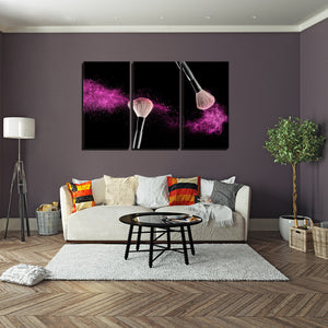Pink Shimmer Multi Panel Canvas Wall Art - Makeup