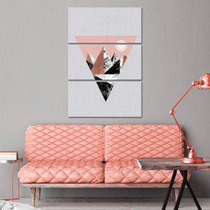 Pink Triangle Mountains Multi Panel Canvas Wall Art - Geometric