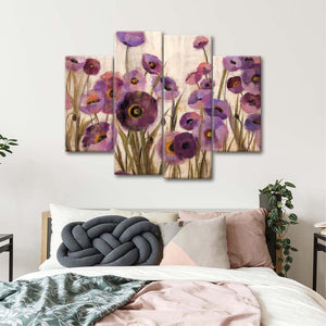 Pink and Purple Flowers Multi Panel Canvas Wall Art - Flower