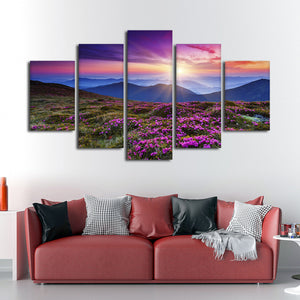 Pink Flowers at Sunset Multi Panel Canvas Wall Art - Nature