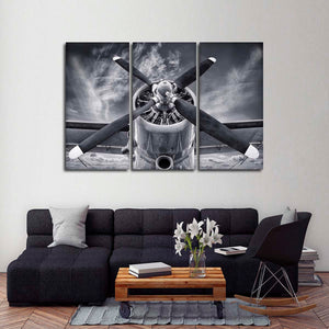 Plane Propeller Multi Panel Canvas Wall Art - Airplane