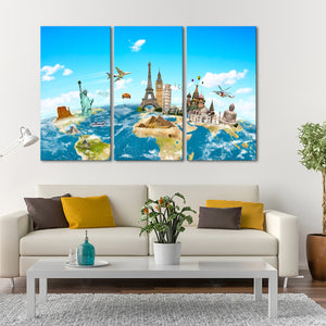 Planet Earth Monuments Multi Panel Canvas Wall Art - World_map