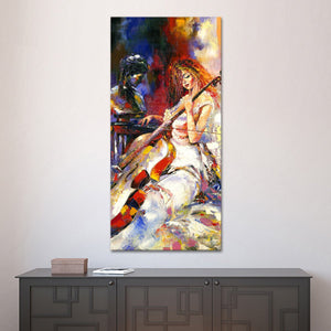 Playing Cello Multi Panel Canvas Wall Art - Music