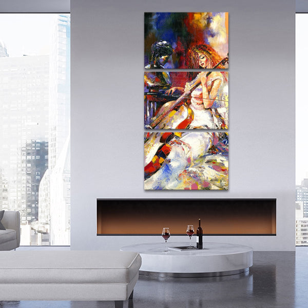 Playing Cello Multi Panel Canvas Wall Art