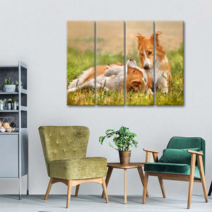 Playing Dogs Multi Panel Canvas Wall Art - Dog