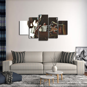 Playing Guitar Multi Panel Canvas Wall Art - Guitar
