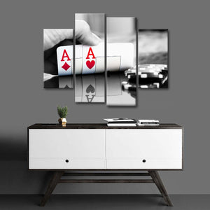 Poker Aces Multi Panel Canvas Wall Art - Poker