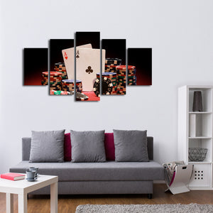 Poker Face Multi Panel Canvas Wall Art - Poker