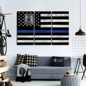 Police Department Flag Multi Panel Canvas Wall Art - Police