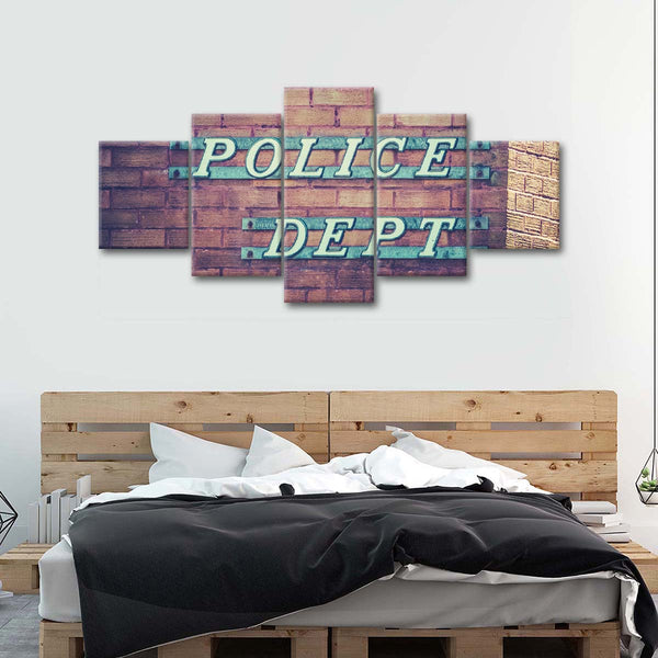 Police Sign Multi Panel Canvas Wall Art