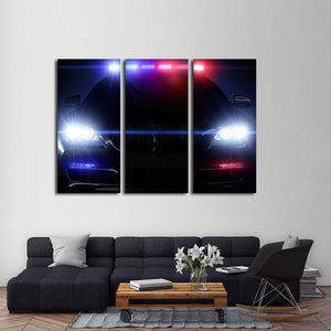 Police Car Multi Panel Canvas Wall Art - Police