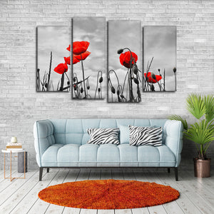 Poppies Pop Multi Panel Canvas Wall Art - Flower