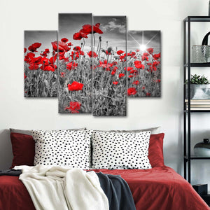 Red Poppies Pop Multi Panel Canvas Wall Art - Flower