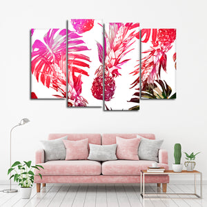 Poppin Pineapples Multi Panel Canvas Wall Art - Pineapple