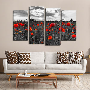 Poppy Field At Dusk Pop Multi Panel Canvas Wall Art - Flower