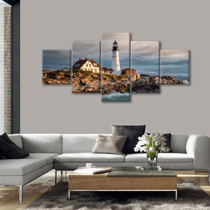 Portland Maine Lighthouse Multi Panel Canvas Wall Art - Lighthouse
