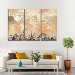 Postcard Map Masterpiece Multi Panel Canvas Wall Art - World_map