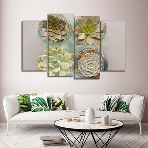 Potted Succulents Multi Panel Canvas Wall Art - Botanical