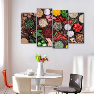 Fresh Spices Multi Panel Canvas Wall Art - Kitchen