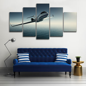 Private Jet Multi Panel Canvas Wall Art - Airplane