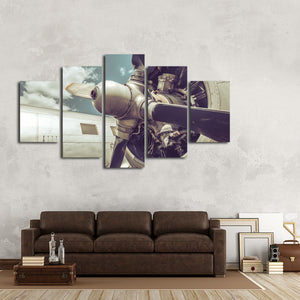 Propeller Close Up Multi Panel Canvas Wall Art - Airplane