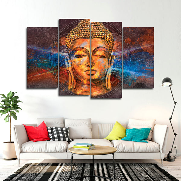 Psychedelic buddha multi panel canvas wall art