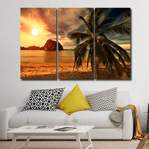 Puerto Rico Sunset Multi Panel Canvas Wall Art - Beach